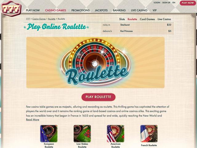 roulettes casino online www 777 casino games com